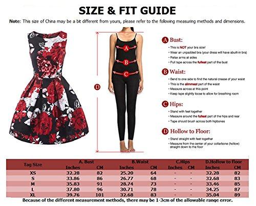 LaoZan Femmes Sans manches Robe de cocktail Rétro A-Line Swing Robe l'impression Rose Violet