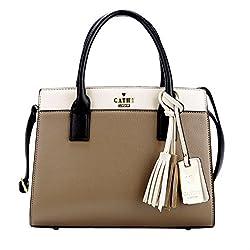 Cathy London Womens Handbag, Material- Syntethic Leather, Colour- Khaki/Beige
