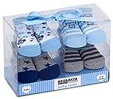 Brubaker 4 Paar Baby Jungen Socken 0-12 Monate - Raketen und Sterne