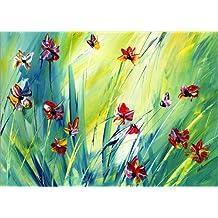 Cuadro sobre lienzo 40 x 30 cm: Wie die bunten Schmetterlinge de Niksic Katarina - cuadro terminado, cuadro sobre bastidor, lámina terminada sobre lienzo auténtico, impresión en lienzo