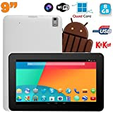 Tablette tactile 9 pouces Android 4.4 Bluetooth Quad Core 8Go Blanc
