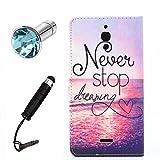 Lusee® (Nur für 3G Version) PU Kunstleder Tasche für Alcatel One Touch Pixi 4 6.0 8050D 3G (6 Zoll) kunstliche Ledertasche mit silikon Hülle Sonnenuntergang Meer