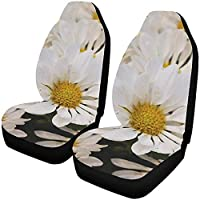 Car Seat Cover Front,White Daisy Flower Wildlife Blossom Universal Fit Auto Drive Car Seat Covers Protector for Vehicle Full Set(Set of 2 Front)