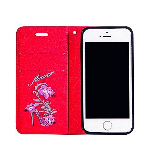 iPhone 5SE Bling Hülle,iPhone 5/5S Flip Hülle,TOYYM Luxus Bling Glitzer 3D High Heel Muster Design Ultra Dünn PU Leder Stand Flip Wallet Magnet Brieftasche mit Kartenfach Innere Silikon Schutz Hülle,B Rot