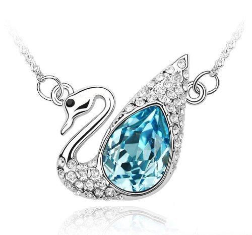 """General Gifts - Collana con Ciondolo Cigno Azzurro Cristalli Swarovski Elements, Catenina da 18"""""""