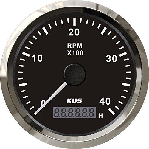 Preisvergleich Produktbild Kus garantiert Tachometer Drehzahlmesser mit Stunde Meter 4000RPM 85 mm 12 V / 24 V mit Hintergrundbeleuchtung