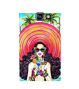 HAWAIIN GIRL WEARING A BIG BEACH HAT DRINKING A MOCKTAIL STANDING ON A BEACH 3D Hard Polycarbonate Designer Back Case Cover for Samsung Galaxy A5 (2016) :: Samsung Galaxy A5 A510F (2016) A510M A510FD A510Y