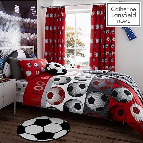 Catherine Lansfield Stoff mit Fußball-Design, für Kinder, Rot, Einzelbett (Rot Bettwäsche Set King)