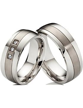2 Eheringe Trauringe Verlobungsringe aus Edelstahl & Titan mit 3 Zirkonia im Damenring & gratis Gravur