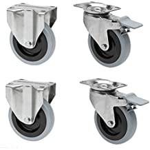 Edelstahlrolle Gummi grau 80 mm Platte Lenkrolle Bremse Transportrolle INOX V2A