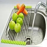 Saiyam Stainless Steel Kitchen Sink Folding Fruit Vegetable Crockery Drying Drain Rack Dish Drying Rack, Stainless Steel Roll-Up Over Sink Rack Kitchen Foldable Drying Drainer