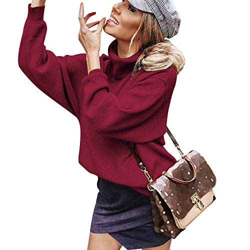 GreatestPAK Pullover Damen Rollkragen Langarm Sweatshirt Tops Bluse Shirt Sweater