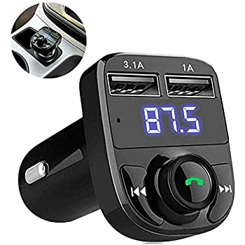 EYUVAA Wireless Car FM Transmitter with Bluetooth and USB, Hands-free Call, Mp3 Music Stereo Adapter, Dual USB Port Cars Charger Compatible for All Smartphones