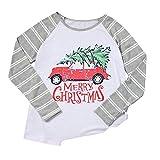 VEMOW Heißer Elegante Damen Frauen Große Größe Frohe Weihnachten Alphabet Druck Langarm Casual Täglich Freizeit Spleißen Top T-Shirt(Grau, EU-42/CN-L)
