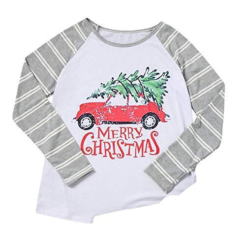 VEMOW Heißer Elegante Damen Frauen Große Größe Frohe Weihnachten Alphabet Druck Langarm Casual Täglich Freizeit Spleißen Top T-Shirt(Grau, 38 DE/S CN) (Clown-licht-t-shirt)