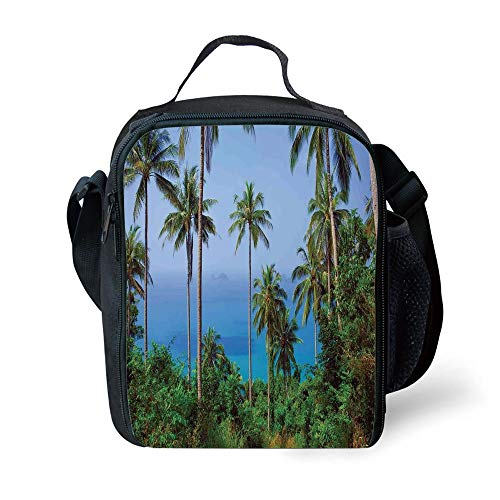 ZKHTO School Supplies Palm Tree Decor,Ocean Scene from Jungle Tropical Beauty Natural Paradise in Nature Theme,Blue Green for Girls or Boys Washable