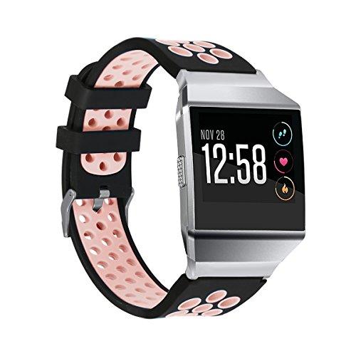 "Ersatz-Sport-Armband für Fitbit Ionic, atmungsaktives Fitnessarmband, Pink & Black, 6"" - 8.1"""