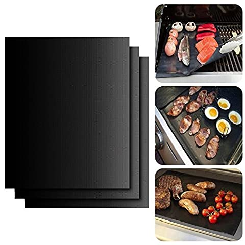 BBQ Non Stick Grill Mat Set of 3- Heavy Duty Nonstick Grilling Accessories for Home Cook Electric Gas Grill and more,16 X 13 inch (3)
