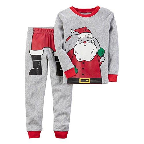 Hzjundasi natale pigiama set collo rotondo maniche lunghe child pigiami pullover bambini ragazzi indumenti da notte 3-8 anni grigio altezza 110cm
