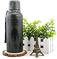 CELEBRATIONGIFT Military Vacuum Cup Water Bottle with Strap (Dark Green, 350ml)