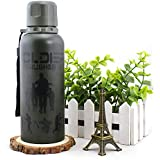 Celebration Gift High Quality Military Vacuum Cup Water Bottle with Strap (Dark Green)