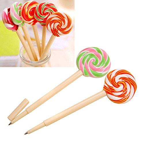 Iycorish 10 Stueck Neuheit Lollipop Kugelschreiber Schule stationaeren Shop Schulbedarf 0,5 mm -