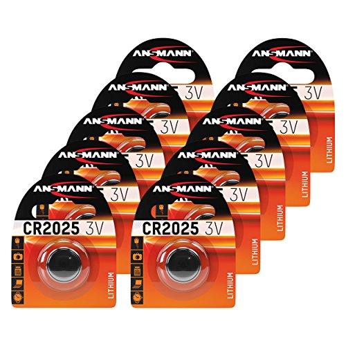 ANSMANN 10x CR2025 Batterie Lithium Knopfzelle 3V/Qualitativ hochwertige Knopfbatterien/Ideal für Autoschlüssel, TAN-Gerät, Taschenrechner, Kinderspielzeug, Fernbedienung, Uhren, etc.