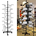 Tomasa Adjustable Metal 7 Tier 35 Hat Racks, Retail Rotating Hat Stand Floor Hat Stand Black (UK STOCK)