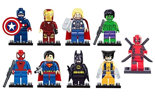 DC Comics Minifigures Super Heroes Superman Iron Man Batman Spiderman Hulk Thor Wolverine Deadpool Mini Figures ()