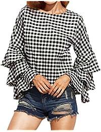 Fossen Mujer Blusas de Manga Larga Volantes Trompeta Punto de Ola Camisetas Oferta Gasa Camisa de