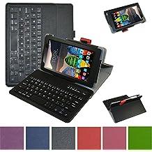 """Lenovo Tab3 A7-10 / Tab 3 7 Essential Bluetooth teclado Funda,Mama Mouth DETACHABLE Bluetooth teclado teclado (teclado QWERTY formato inglés) PU Cuero Con Soporte Funda Caso Case para 7"""" Lenovo Tab3 7 Essential 710F 710I Android Tablet 2016,Negro"""