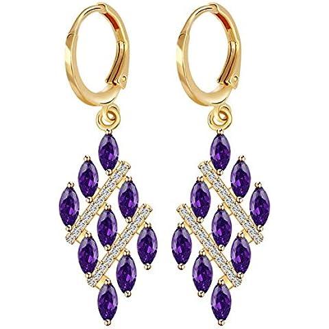 ZWX Altri colori/Occhini con pietra dure/ Stile europeo/Love/ goccia/ modello di campane/ un orecchino (Pietra Amethyst Silver Ring)