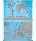 blupalu I Set XXL Europakarte und Weltkarte Zum Rubbeln mit Länder-Flaggen I Rubbel-Chip I Landkarte Zum Freirubbeln I Sehenswürdigkeiten in Europa I 89 x 59 cm | Deutsch | Poster I Rubbelweltkarte
