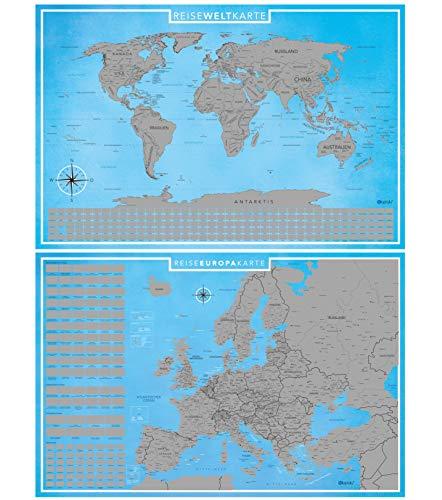 blupalu I Set XXL Europakarte und Weltkarte Zum Rubbeln mit Länder-Flaggen I Rubbel-Chip I Landkarte Zum Freirubbeln I Sehenswürdigkeiten in Europa I 89 x 59 cm   Deutsch   Poster I Rubbelweltkarte - Von Reise-karte Europa