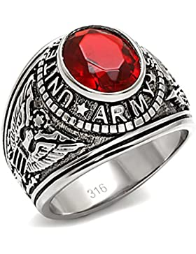 Isady - US Army Rubin Edelstahl - Herren-Ring - Edelstahl - Zirkonium Rot