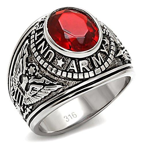 ISADY - US Army Rubin Edelstahl - Herren-Ring - Edelstahl - Zirkonium Rot - T 66 (21.0) - Herren-marine-ring