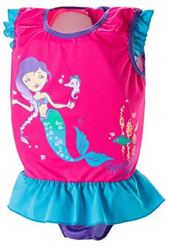 Speedo Kids UPF 50+ Begin to Swim Polywog Swimsuit, Berry/Grape, Medium
