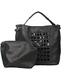Elegant Creations Black Leather Look Handbag/Shoulder Bag Large Size And Sling Bag Combo For Women And Girls