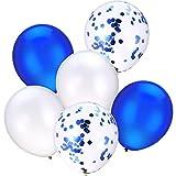 30 Stück 12 Zoll Latex Ballons Konfetti Ballons für Hochzeit Mädchen Baby Dusche Party Dekoration (Weiß und Blau)