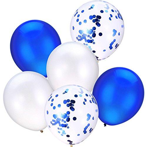 30 Piezas 12 Pulgadas de Globos de Látex Globos de Confeti para Decoración de Fiesta de Bienvenida a Bebé Niña y Boda (Blanco y Azul)