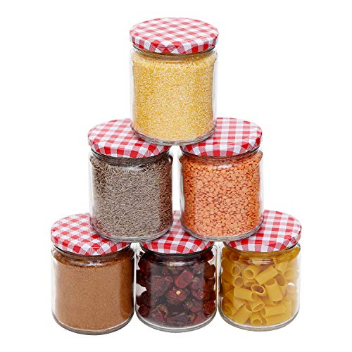 Kurtzy Glass Jar Canister Storage Container Airtight Lid Round Transparent Food Kitchen Organizer for Cereals Pickle Spices Jam Set of 6, 450ml