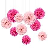 Feelshion 10x Seidenpapier Pompons Papierblume Dekoration für Hochzeits Gartenparty Feier Pink Hellrosa