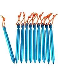 YUEDGE Premium aluminio ligero estacas para tienda de campaña con cuerda reflectante (Pack de 10/azul)