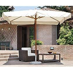 PEGANE Parasol centré rectangulaire 3 x 4 m Coloris Bois Teck Polyester 230 GR- A Usage Professionnel