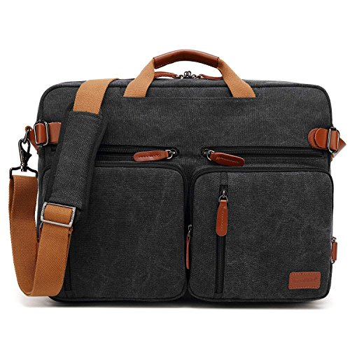 CoolBell umwandelbar Aktentasche Messenger Bag Umhängetasche 17.3 Inch Laptop Tasche Business Backpack Multifunktions Reise Rucksack Notebook Schultertasche Passend für Herren/Damen(Canvas Schwarz)