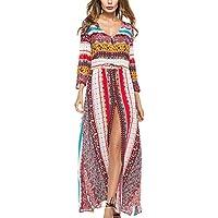 Feoya - Vestido Largo Mujer Verano Casual con Cuello V Mangas Largas para Playa Boho Vestido Floral Dobladillo Abierto Moderno para Vacaciones