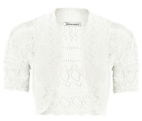 Janisramone Girls Kids Short Sleeve New Crochet Knitted Bolero Shrug Ladies Open Cardigan Crop Top