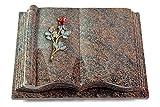 MEMORUM Grabmale Grabbuch, Grabplatte, Grabstein, Grabkissen, Urnengrabstein, Liegegrabstein Modell Antique 40 x 30 x 8-9 cm Paradiso-Granit, Poliert inkl. Gravur (Bronze-Color-Ornament Rose 7)