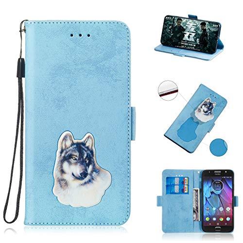 BONROY Motorola Moto G5 S Hülle Retro Design PU Ledercase Tasche Schutzhülle Scratch Magnetverschluss Telefon-Kasten Handyhülle Bookstyle Handycover-(TX-himmelblau)