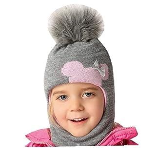 AJS Mädchen Schlupfmütze Wintermütze Ballonmütze Beanie für Mädchen 3-6 Jahre alt, 50-54 cm Kopfumfang, sehr dehnbar in 9 Farben (Pink - hell/Hell-grau D)